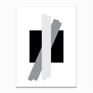 Grey Cross Over Black Box Abstract Canvas Print