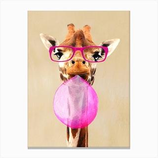 Giraffe With Bubblegum Canvas Print