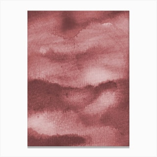 Aquarelle Meets Pencil Peach Clouds Canvas Print