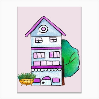 Blue And Purple House Canvas Print