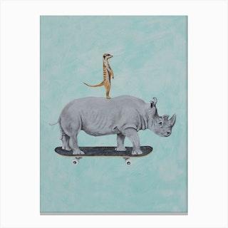 Rhinoceros And Meerkat Skateboarding Canvas Print