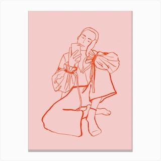 Selfie Pink Canvas Print