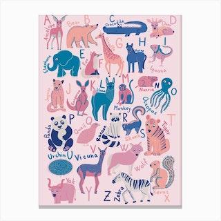 Pink Animal Alphabet Canvas Print