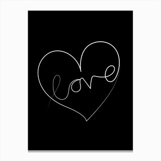 Love Lines Black and White Canvas Print