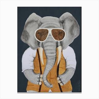 Vintage Elephant Man Canvas Print