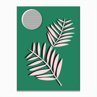 Palm Leaves in Moonlight Canvas Print