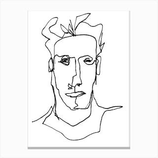 Line Art Portrait Hawthorne Black And White Canvas Print