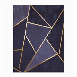 Dark And Lighter Blue Abstract Shapes With Gold Trim Canvas Print