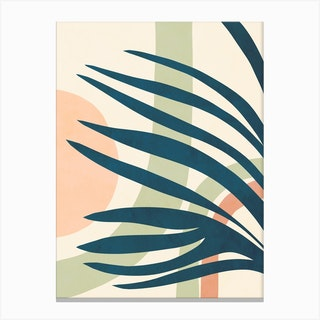 Earthy Tropical Foliage Blue 4 Canvas Print