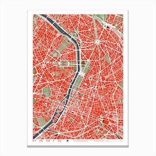 Paris Classic Map Canvas Print