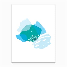Abstract Teal and Blue Crazy Shapes Canvas Print