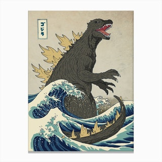 The Great Monster Off Kanagawa Canvas Print