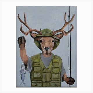 Fisherman Deer Canvas Print