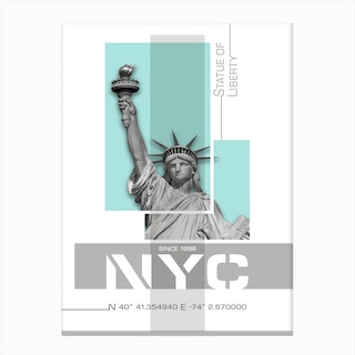 Poster Art Nyc Statue Of Liberty Turquoise Canvas Print
