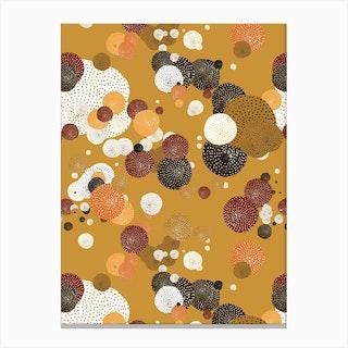 Oriental Circle Textures Mustard 2 Canvas Print