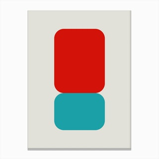 Emphatic Red Teal Canvas Print