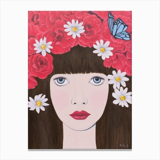 Woman And Red Flowers On Hair Canvas Print