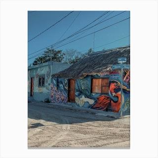 Street Art Bird On Isla Holbox Mexico Canvas Print