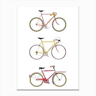 Three Vintage Bicycles Canvas Print