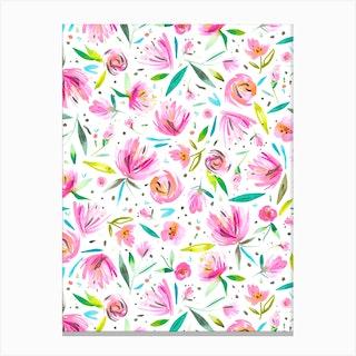 Peonies Pink Canvas Print
