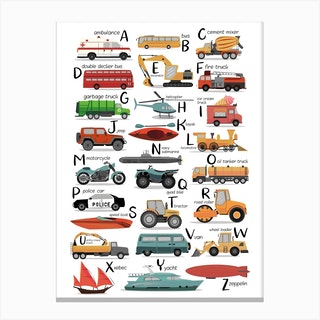 Colourful Transportation Alphabet Canvas Print