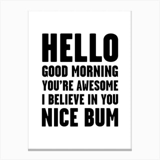 Hello Youre Awesome Nice Num Canvas Print