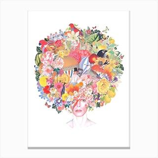 David Bowie Watercolour Collage Canvas Print