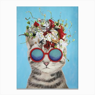 Flower Power Cat Canvas Print