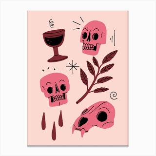 Skulls And Wine Red Canvas Print