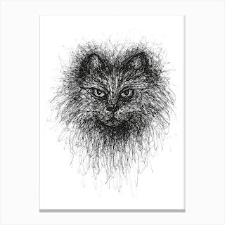 Scribble Cat Canvas Print