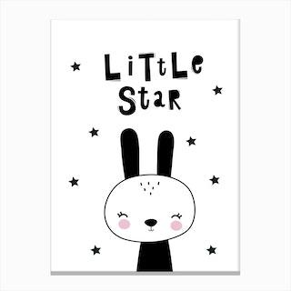 Scandi Little Star Black Bunny Canvas Print