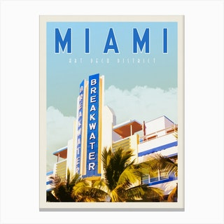 Miami Breakwater Hotel Travel Poster Canvas Print