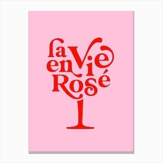 La Vie En Rosé Wine Glass Red On Pink Canvas Print