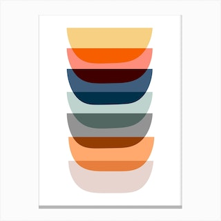 Colorful Abstract Mid Mod Art Canvas Print