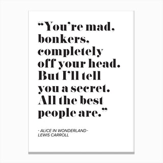 Alice In Wonderland Quote Canvas Print