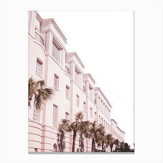 Pink And Palm Building Canvas Print