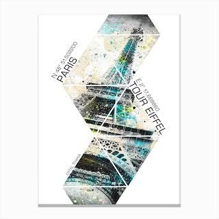 Eiffel Tower Coordinates Canvas Print