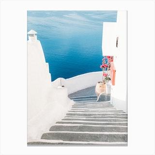 White And Blue In Santorini Canvas Print