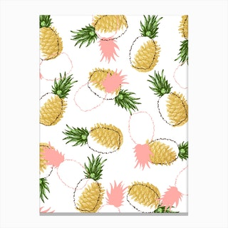 Pineapples & Pine Cones Canvas Print