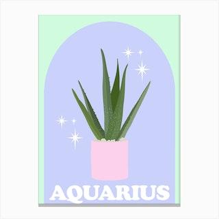 Botanical Star Sign Aquarius Canvas Print