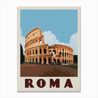 Rome Italy Colosseum Travel Poster Canvas Print
