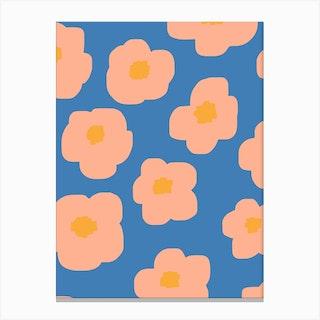 Sookie Floral Pink Blue Canvas Print