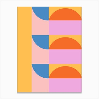 Shapes In Lilac And Yellow 2 Canvas Print