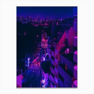 Tokyo City Night Lights Canvas Print