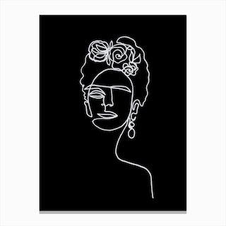 Frida Kahlo Black and White Canvas Print