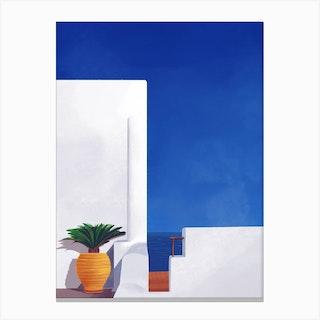Beyond The White Wall Santorini Canvas Print