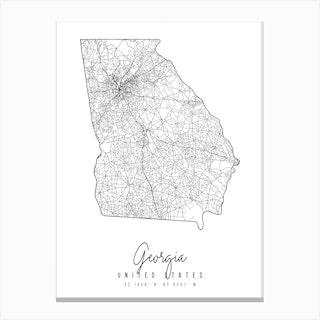 Georgia Minimal Street Map Canvas Print
