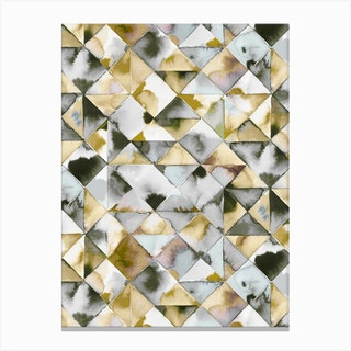 Moody Triangles Gold Silver Canvas Print