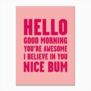 Hello Youre Awesome Nice Num Pink Canvas Print