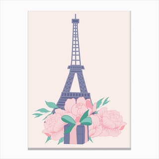 Eiffel Tour And Peonies Canvas Print